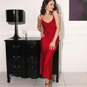 August Silk Red Long Maxi Slip Dress